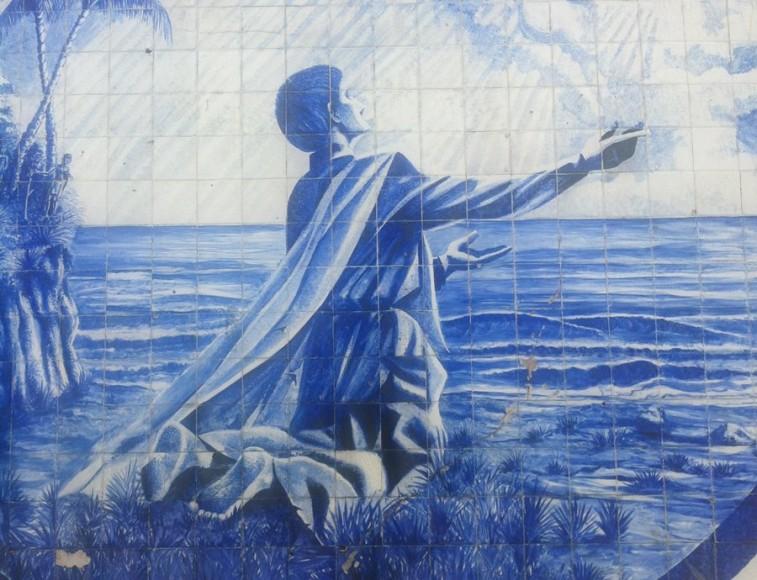 Pintura representando São José de Anchieta, em azulejo
